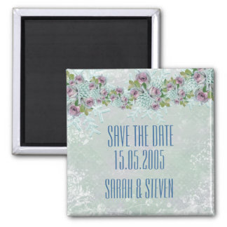 Christmas Frosty Silver Roses Save the date Refrigerator Magnets