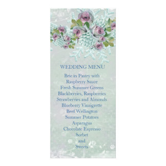Christmas Frosty Silver Roses Wedding Menu Custom Announcement