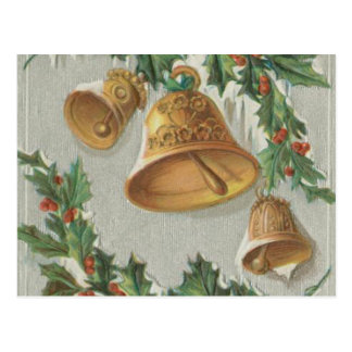 Christmas Frozen Bells and Holly Postcard