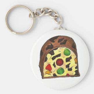 Christmas Fruit Cake Fruitcake Slice Holiday Xmas Key Ring