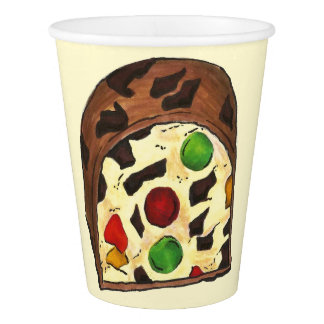Christmas Fruit Cake Fruitcake Slice Holiday Xmas Paper Cup