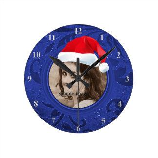 Christmas Fun Add Santa Hat Blue Custom Photo Round Clock