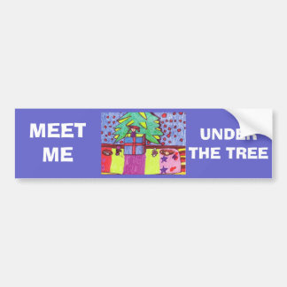 Christmas fun, gifts under the tree car bumper sticker