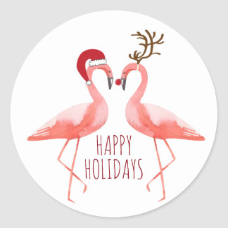 Christmas funny flamingos couple santa and rudolph classic round sticker