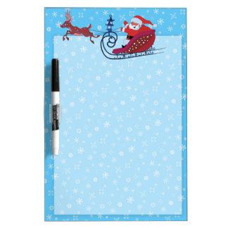 Christmas funny illustration. Santa with Rudolf Dry Erase Board