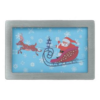 Christmas funny illustration. Santa with Rudolf Rectangular Belt Buckle