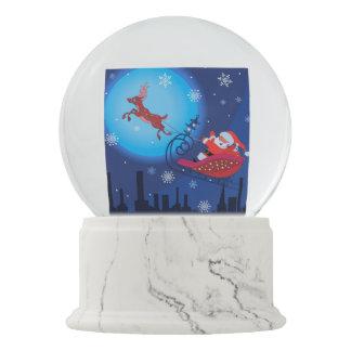 Christmas funny illustration. Santa with Rudolf Snow Globe