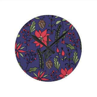 Christmas Garden Print Round Clock
