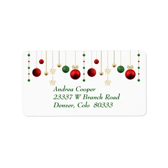 Christmas Garland on White Address Label