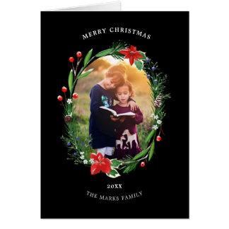 Christmas Garland Pines Berries Juniper Floral Card