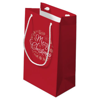 Christmas gift bag with hand drawing elements