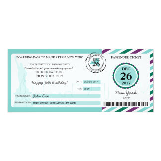 Christmas Gift Boarding Pass to NEW YORK Card