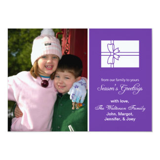 Christmas Gift Box Card Season's Greetings Purple 13 Cm X 18 Cm Invitation Card