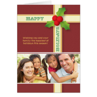 Christmas Gift Custom Family Holiday Card (maroon)