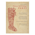 Christmas Gift Exchange Party Vintage Stocking Red Announcements
