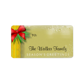 Christmas Gift Label - GOLD with Red Bow Address Label