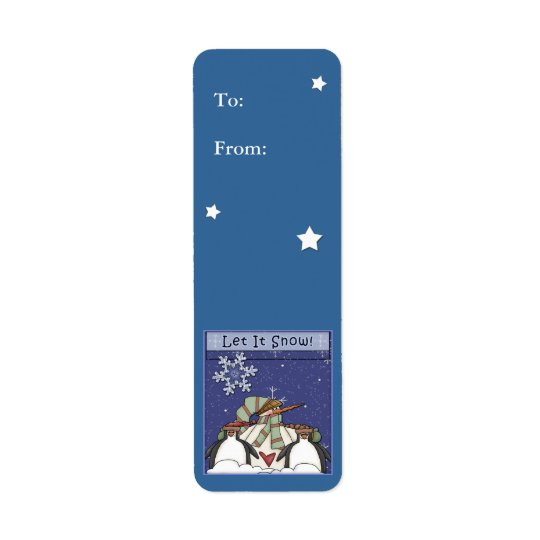 Christmas gift label with snowman and penguins return address label
