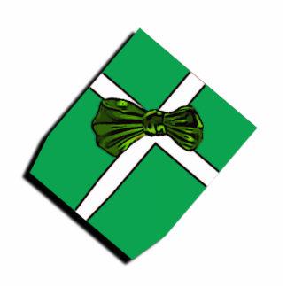 Christmas gift ornaments green ribbons bows photo cutouts