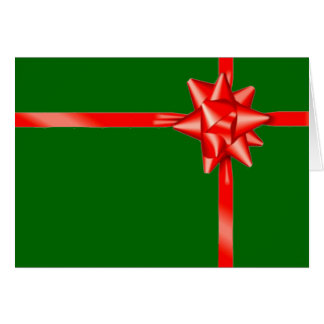 Christmas Gift Red Bow Holiday Greeting Card