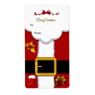 Christmas Gift Santa Suit Tag Gold Red White Xmas Custom Shipping Label