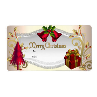 Christmas Gift Tag Red White Xmas Custom Shipping Labels