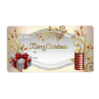 Christmas Gift Tag Red White Xmas Personalized Shipping Labels