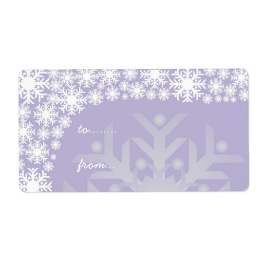 Christmas Gift Tags - Icy Purple Snowflakes Shipping Label