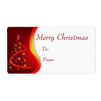 Christmas Gift Tags Red Tree with gold ornaments Shipping Label