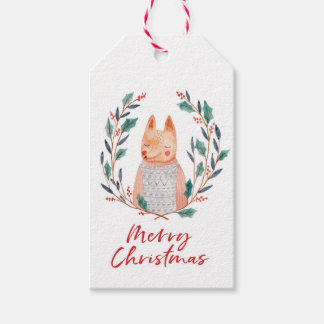 Christmas gift tags watercolour fox and wreath
