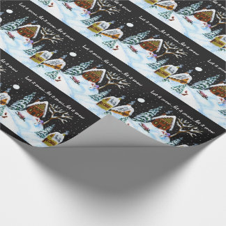 Christmas,gift,wrap,paper,snowman,rabbit,houses Wrapping Paper