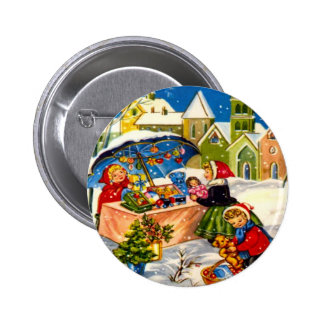 Christmas gifts in a Christmas market Pinback Button