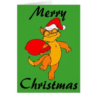 Christmas Ginger Santa Cat Note Card
