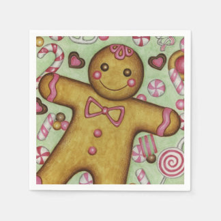 Christmas Gingerbread Boy Party Holiday Napkins Disposable Napkins