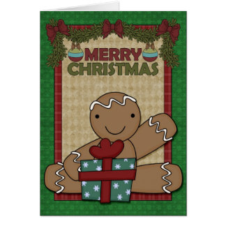 Christmas Gingerbread Cookie - Boy Greeting Card