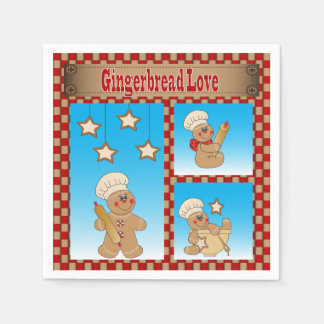 Christmas Gingerbread Cookie Love Disposable Serviettes