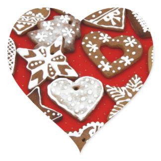 Christmas Gingerbread Cookies Heart Sticker