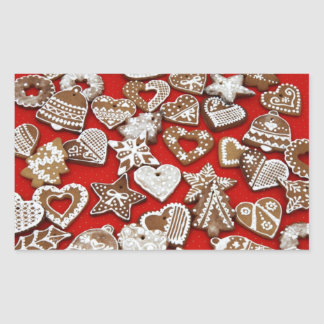 Christmas Gingerbread Cookies Rectangular Stickers