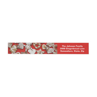 Christmas Gingerbread Cookies Wrap Address Labels Wraparound Address Label