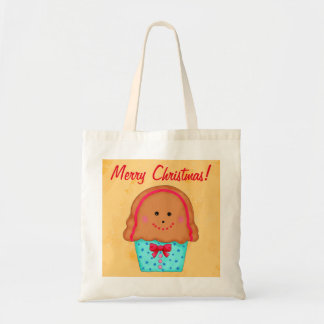 Christmas Gingerbread Cupcake Art Gold Shopping Budget Tote Bag