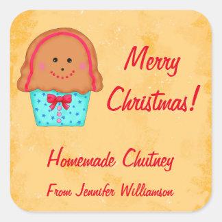Christmas Gingerbread Custom Food Jar Label