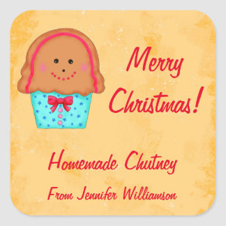 Christmas Gingerbread Custom Food Jar Label Square Sticker