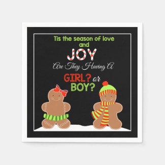 Christmas Gingerbread Gender Reveal Napkins Disposable Serviettes