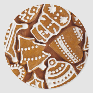 Christmas Gingerbread Holiday Cookies Round Sticker