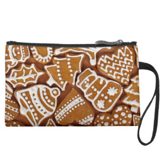 Christmas Gingerbread Holiday Cookies Suede Wristlet