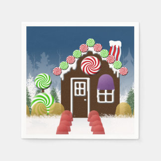 Christmas Gingerbread House Holiday Candy Cottage Disposable Serviette