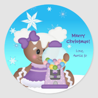 Christmas Gingerbread Icing Bubble Gum Girl Classic Round Sticker