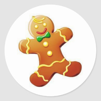 Christmas Gingerbread Man Classic Round Sticker