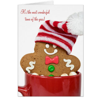 Christmas gingerbread man in hot cocoa card