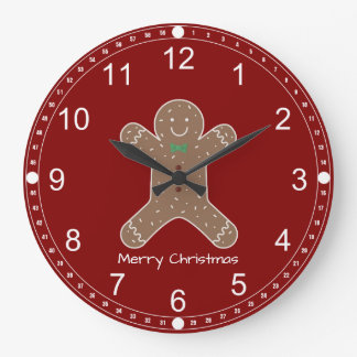 Christmas Gingerbread Man On Red Merry Christmas Large Clock