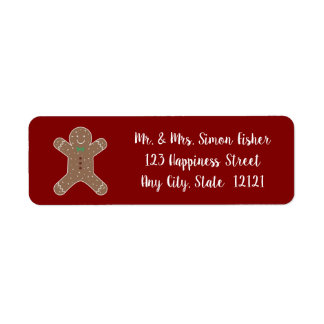 Christmas Gingerbread Man On Red Return Address Label